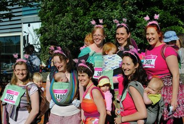 Sheffield Babywearers getting ready to take part in Sheffield's Race for Life